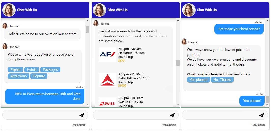 chatbot for flights