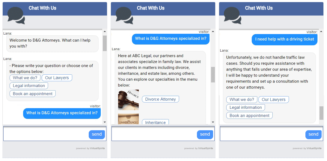 Chatbot for law firm