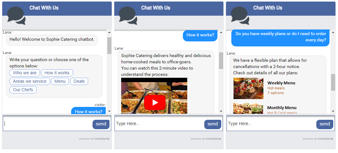 chatbot for catering service