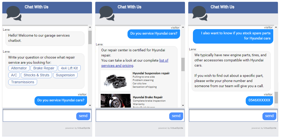 chatbot cars maintenance services