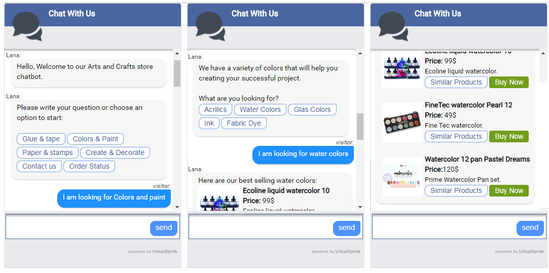 Ecommerce chatbot for arts & crafts store