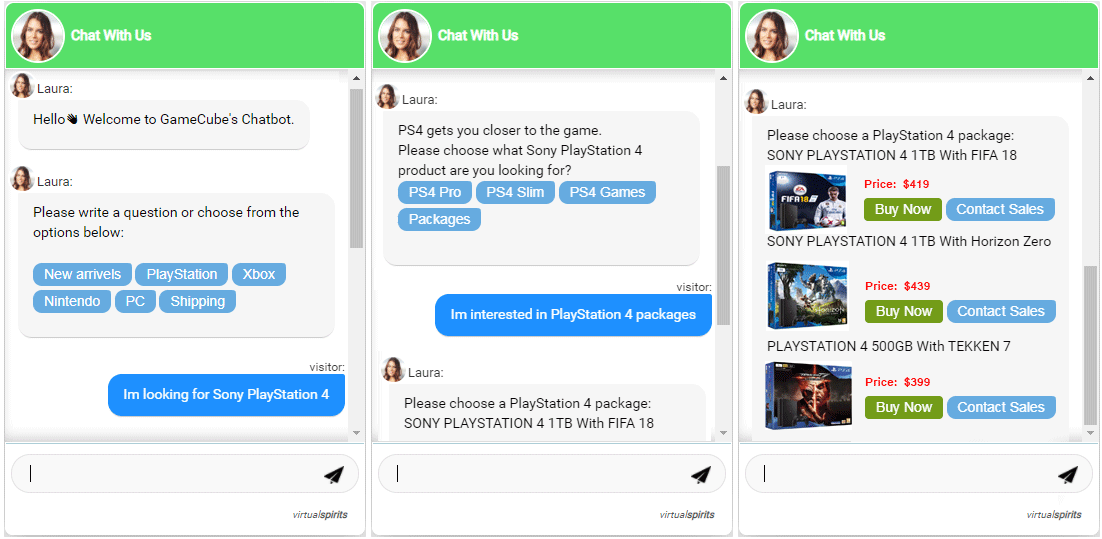 Chatbot para sitio de comercio electrónico