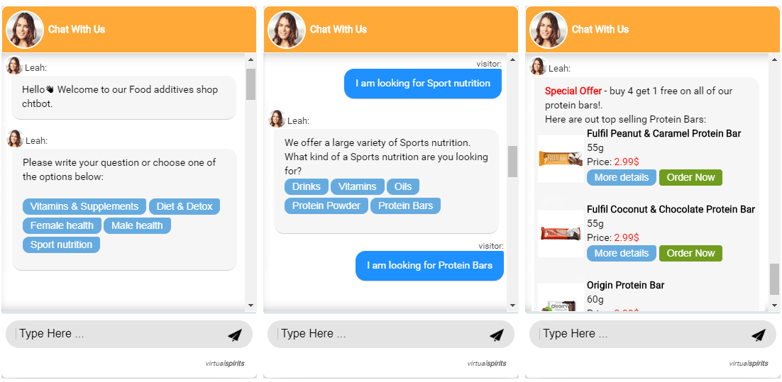 ecommerce chatbot sports shop