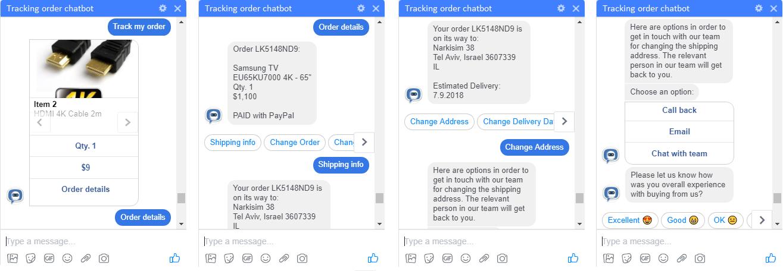 messenger chatbot order status