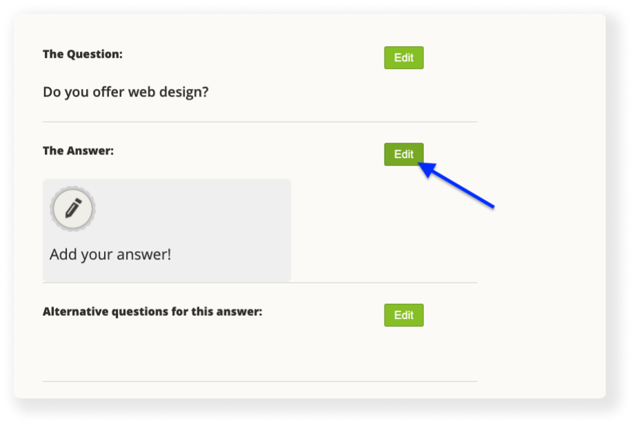 add new answer to chatbot