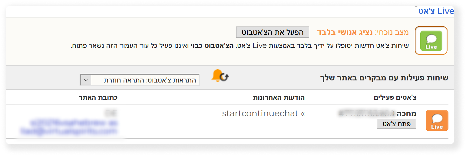 live chat and chatbot turned off