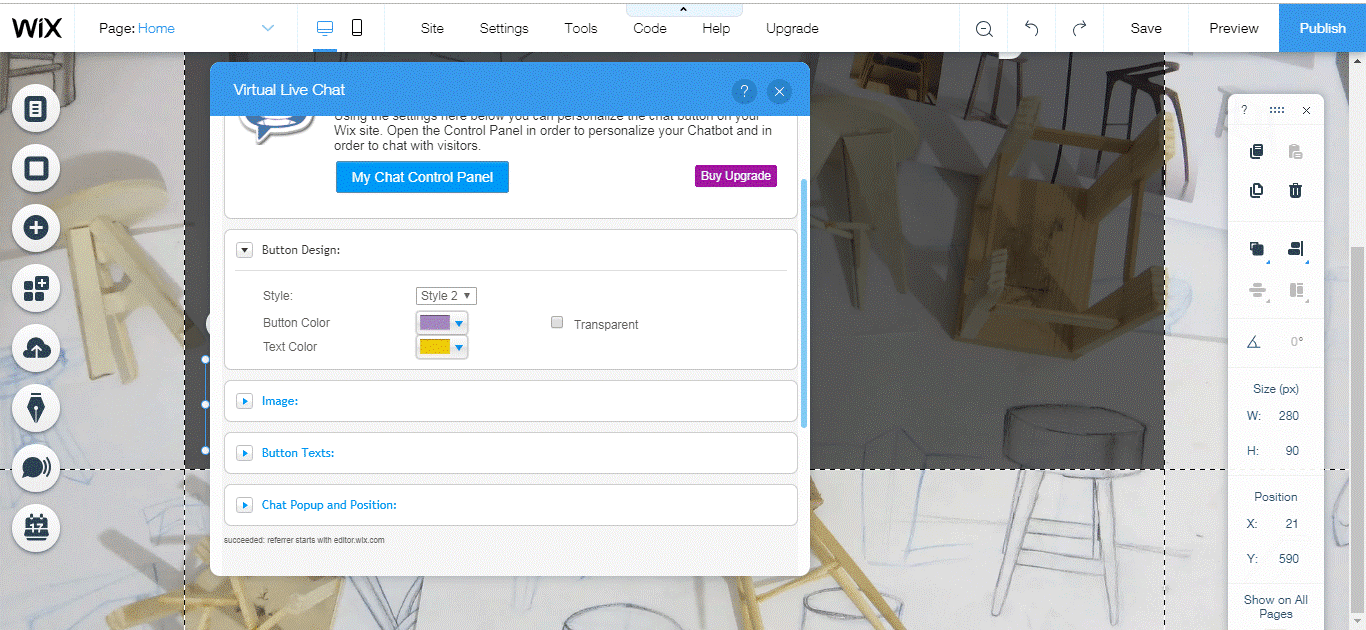wix app changing button color