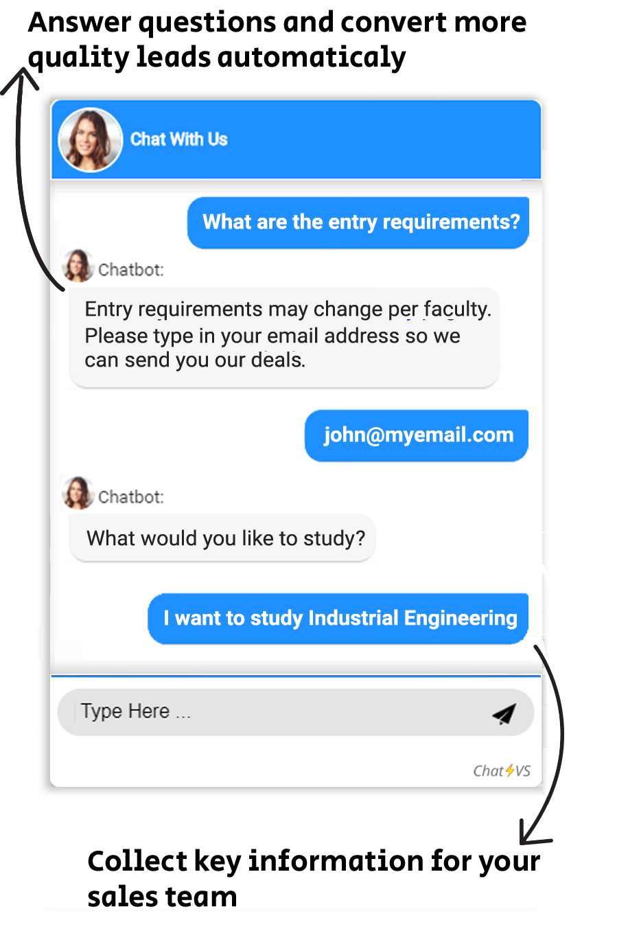 lead generation chatbot for universities