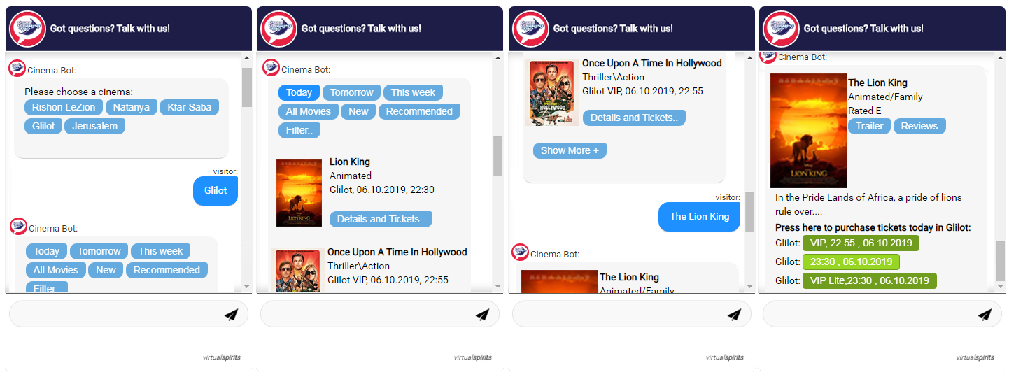 Chatbot voor cinema city Filmtheaters